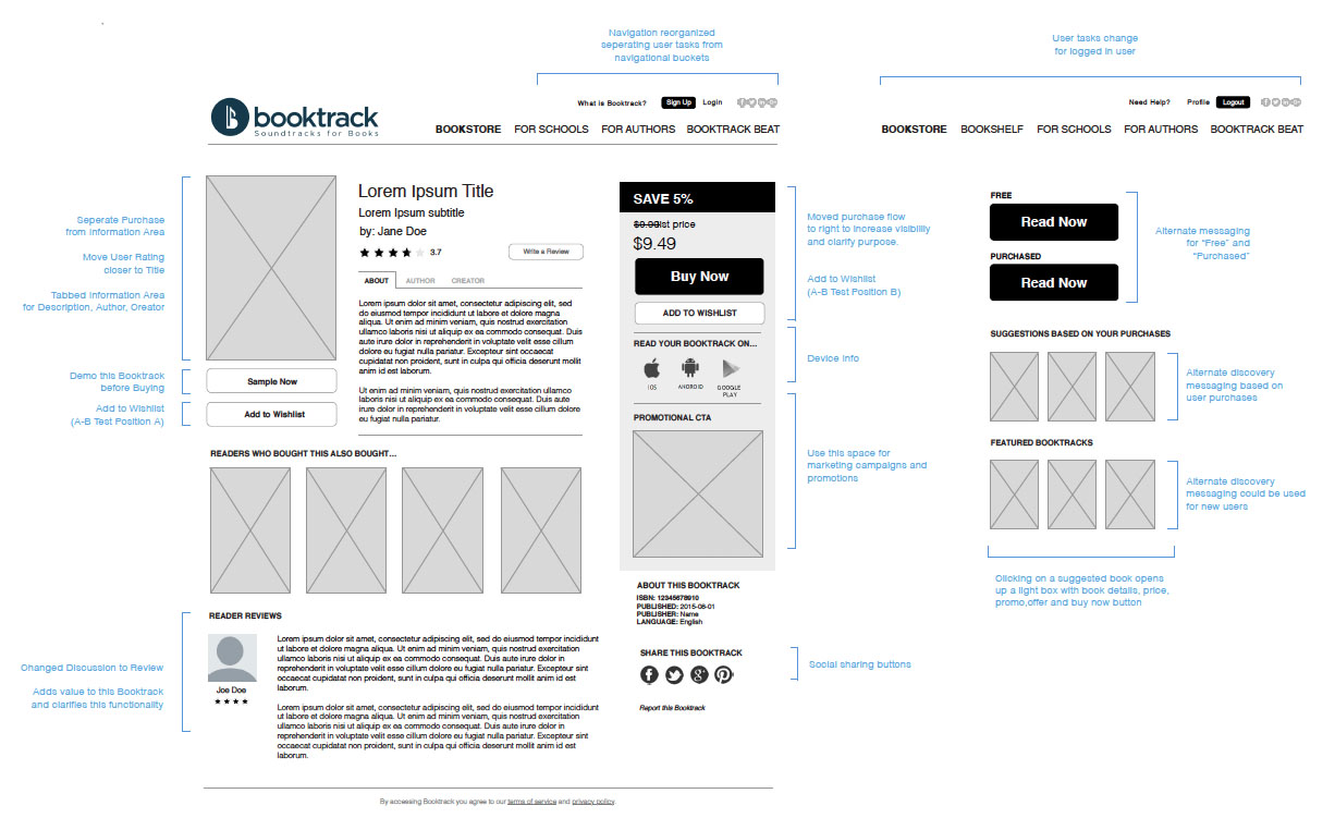 Booktrack Wireframes